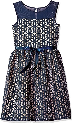 Embroidered Organza Dress (Speechless Big Girls' Embroidered Organza Dress, Navy, 7)