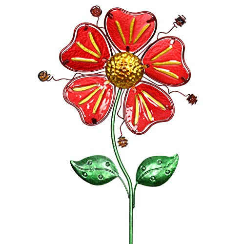 Exhart Whimsical Red Flower Garden Stake in Glass and Metal - Glass Red Flower Metal Stake Hand-Painted with Fade-Resistant Metallic Coat - Flower Stake Garden Décor, Outdoor Ornament, 11 x 36 Inches (Ideas Patio Flower)