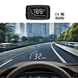 Cousduobe Car HUD Head Up Display OBD II/EUOBD Interface,Vehicle Speed MPH KM/h,Engine RPM,OverSpeed Warning,Mileage Measurement,Water Temperature,Voltage