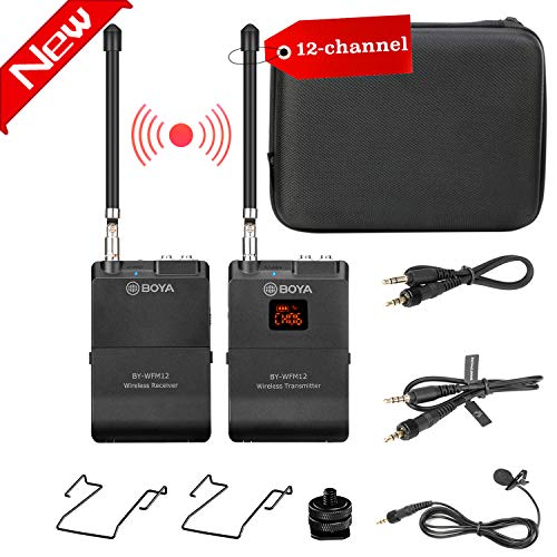 Lavalier Vhf Mic (12-Channel Wireless Lavalier Microphone for Smartphone Camera, BOYA BY-WFM12 VHF Lapel Mic System for IOS iPhone X 8 7 7plus iPad Canon Nikon DSLR DV Camcorders Audio Recorder Vlog Youtube Video Live)