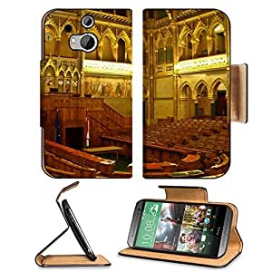 Architecture Gold Hungary Interior View HTC One M8 Flip Case Stand Magnetic Cover Open Ports Customized Made to Order Support Ready Premium Deluxe Pu Leather 6 4/16 Inch (158mm) X 3 4/16 Inch (82mm) X 9/16 Inch (14mm) MSD HTC1 cover Professional M 8 Cases