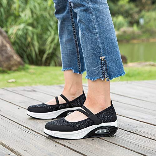 37 Malla Eje Los Zapatos De Balancín Zapatillas Las Negro Respirable Gran La Negro Eu Tamaño Lazo Del Gancho Mujeres Deporte Grandes color Qiusa 6Zx1q1
