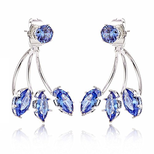 (JUESJ Horse Eye Color Zircon Crystal Front and Rear Claw Type Stud Earrings for Women Girls Wedding Gifts)