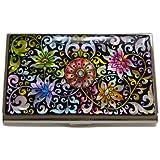 Antique Alive Mother of Pearl Arabesque Flower Design Business Credit Card Holder Wallet (B101)