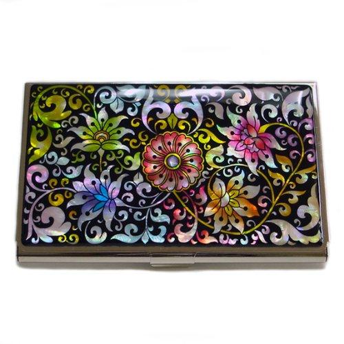 Antique Alive Mother of Pearl Arabesque Flower Design Business Credit Card Holder Wallet - Business Flower Holder Card