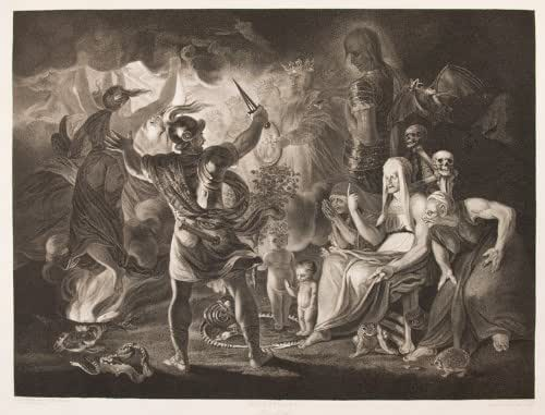 modern elizabethan staging of macbeth 1 print : etching | man on stage, playing macbeth, full-length, standing, facing left, holding dagger.