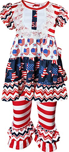 Angeline Boutique Toddler Girls July 4th I Heart USA Patriotic Ruffles Top Capri Outfit 3T/M ()
