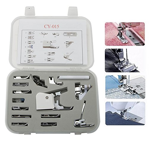 Universal 15 Piece Sewing Machine Presser Walking Feet Kit - OEM Suitable for Babylock Janome Brother New Home Singer Kenmore Simplicity Elna Toyota Necchi