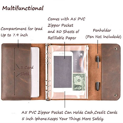 ZE Handmade Luxury Genuine Leather Portfolio 6-Ring A5 Size Loose-Leaf Notebook(Dark Brown)