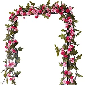 Lannu 2 Pack Artificial Rose Vine Flowers Fake Garland Ivy Flowers Silk Hanging Garland Plants for Home Wedding Party Decorations, (Red & Pink) 2