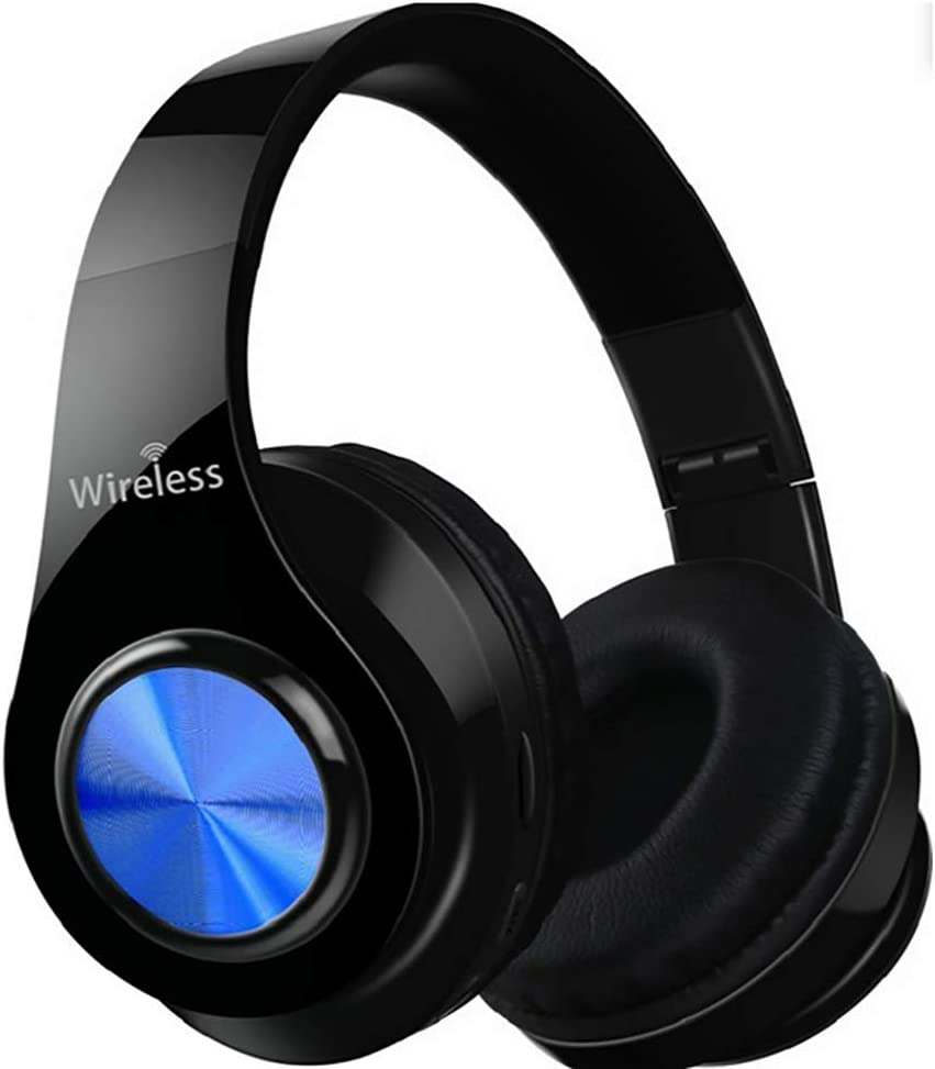Foldable USB Charging Bluetooth Wireless Stereo Gaming Headset Lightweight Comfortable PC Headset Support TF,Blue CHENC Gaming Headset