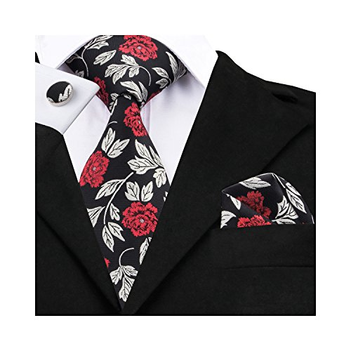 Barry.Wang Men's Classic Floral Necktie Set,Black Red,One Size