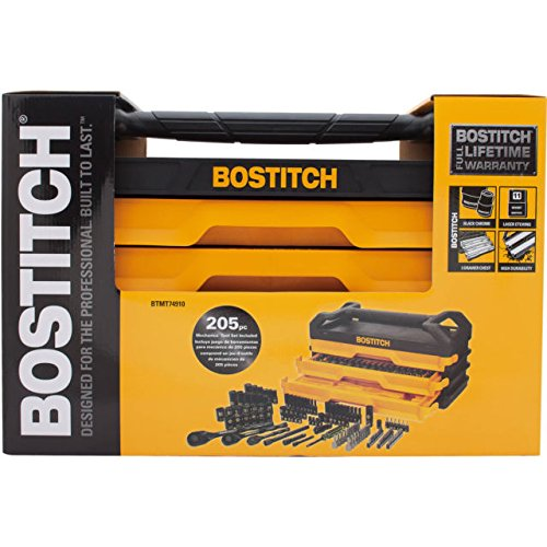 Bostitch 205 Piece Mechanics Tool Set with 3-Drawer Chest