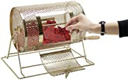 Brass Raffle Drum Small | Casino-Grade Lottery, Fundraiser, Drawings Game | Holds Up to 2,500 Raffle Tickets |