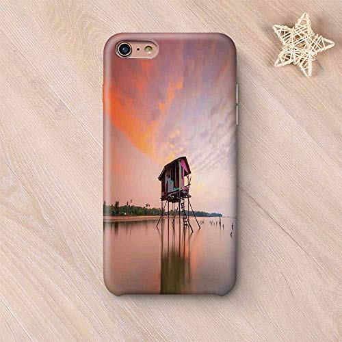 Rustic Home Decor No Odor Compatible with iPhone Case,Single House at Sunset After Flash Flood Water in Asian Malaysian Village Compatible with iPhone 7/8 Plus,iPhone 6 Plus / 6s Plus ()