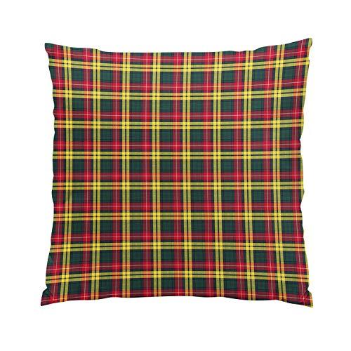 Wesbin Clan Buchanan Green Yellow and Red Tartan Plush Hidden Zipper Home Sofa Decorative Throw Pillow Cover Cushion Case Inch 20x20 Square Two Sides Design Printed Pillowcase