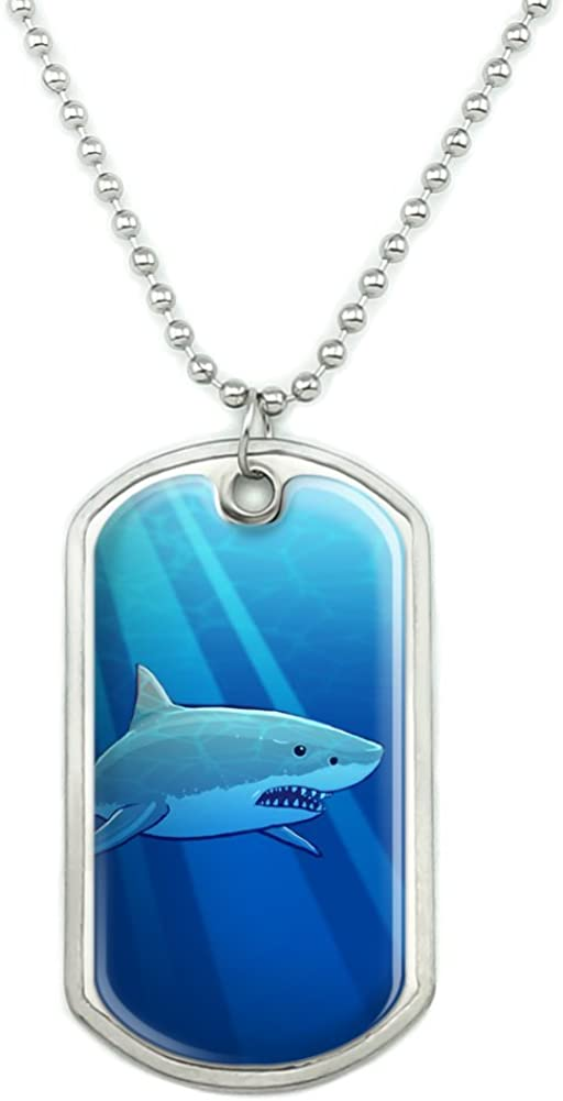 GRAPHICS & MORE Great White Shark Realistic Military Dog Tag Pendant Necklace with Chain