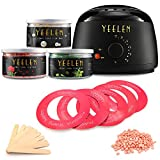 Hair Removal Without Wax - Yeelen Wax Warmer Hair Removal Waxing Kit Wax Melts 3 Hard Wax Beans(21.16oz) 10 Wax Applicator Sticks All Body, Fac Applicator Sticks All Body, Face, Bikini Area, Legs at Home Waxing