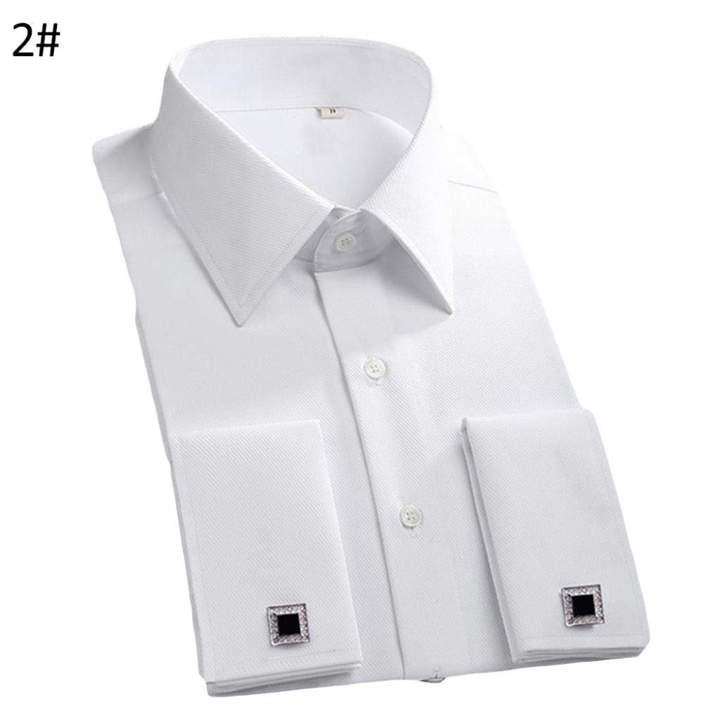 SSNsvj Men French Style Convertible Cuff Buttons Down Striped Shirt with Cufflinks 2# 43