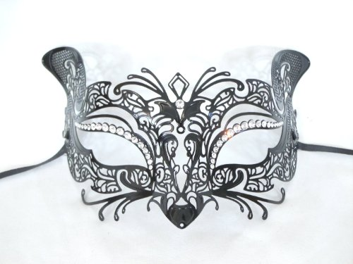 Black Laser Cut Metal Authentic Venetian Cat Masquerade Mask by Venice Buys - Venetian Masks