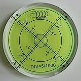 Acrylic Large Spirit Bubble Level (Green Liquid) 60mm Diameter, Degrees - Acrylic Housing, Surface Level, Bulls Eye Bullseye Vial Round -Perfect for tripod and more