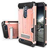 ZTE ZMAX PRO Case, Evocel [Explorer Series Pro] with [Glass Screen Protector] Premium Full Body [Metal Kickstand] [Credit Card Slot] [Holster] for ZTE ZMAX PRO / ZTE Carry, Rose Gold (EVO-ZTECARRY-CK25)