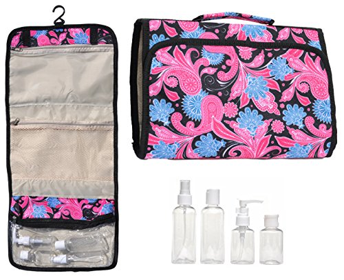 [Black Pink Paisley New Large Hanging Travel Makeup Toiletries Cosmetic Bag Case Organizer with 4 Pack Travel Size Bottle Set Gift Idea Teen Girls Women Mom] (Last Minute Costume Ideas College)