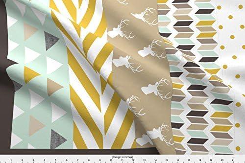 Ciervo tela – marrón verde ciervo edredón tela por mrshervi – tela, diseño de ciervo con spoonflower – impreso en una variedad de algodón telas por el patio