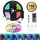 LED Strip Light, 44-Keys IR Remote Controller with 20 Colors, 6 Dynamic Modes, 6 DIY Mode, 5M/16.4ft Multi-Color TV Backlight with Power Supply for Home, Kitchen, Bedroom, Stairway, Bar Decoration