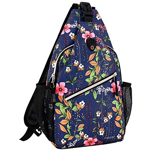MOSISO Rope Sling Backpack (Up to 13 Inch), Multipurpose Crossbody Chest Shoulder Outdoor Travel Hiking Daypack with Printed Pattern, Navy Blue Base Flower ()