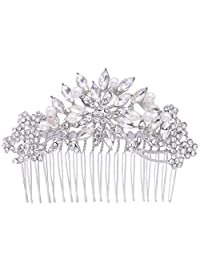 EVER FAITH Women's Austrian Crystal White Simulated Pearl Flower Leaf Hair Comb Clear Silver-Tone