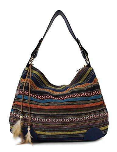 Scarleton Striped Jacquard Hobo Bag H158107 - Blue (Fabric Handbags)