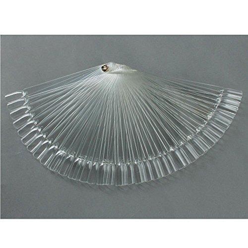 Adecco LLC 50 Pcs Clear Fan-shaped False Fake Nail Art Tips Sticks Polish Gel Salon Display Chart Practice Tool