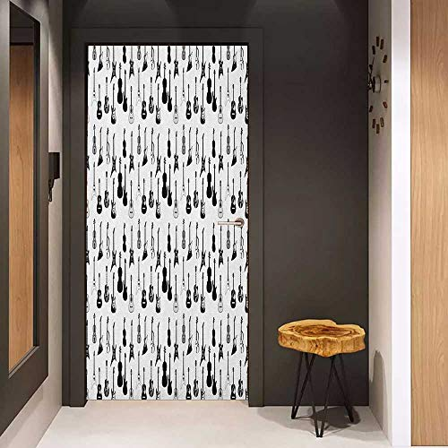 Onefzc Sticker for Door Decoration Music Monochrome Strings Various Types Acoustic and Electronic Guitar Cello Violin Door Mural Free Sticker W35.4 x H78.7 Black White Grey