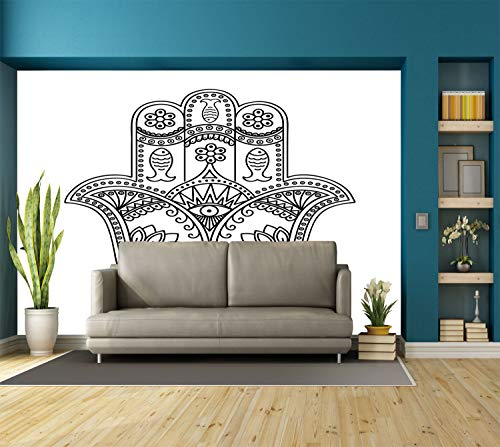 Large Wall Mural Sticker [ Hamsa,Vintage Icon with Paisley Inspired Details Fishes and Flowers Evil Eye Hand Drawn,Black White ] Self-adhesive Vinyl Wallpaper / Removable Modern Decorating Wall Art -