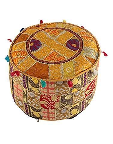 Indian Ottoman Pouf Cover Yellow Decorative Living Room Foot Stool Bohemian Chair Covers Handmade Cotton Traditional Round Pouf Ottomans Comfortable Embroidered PatchWork Floor Cushion By (Yellow Room Chairs)