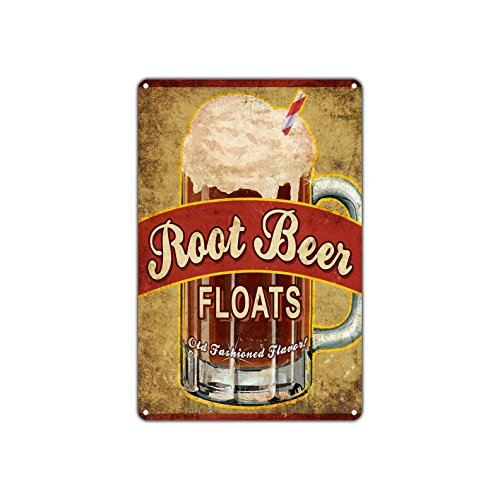 Root Beer Floats Old Fashioned Flavor Vintage Retro Metal Wall Decor Art Shop Man Cave Bar Garage Aluminum 8