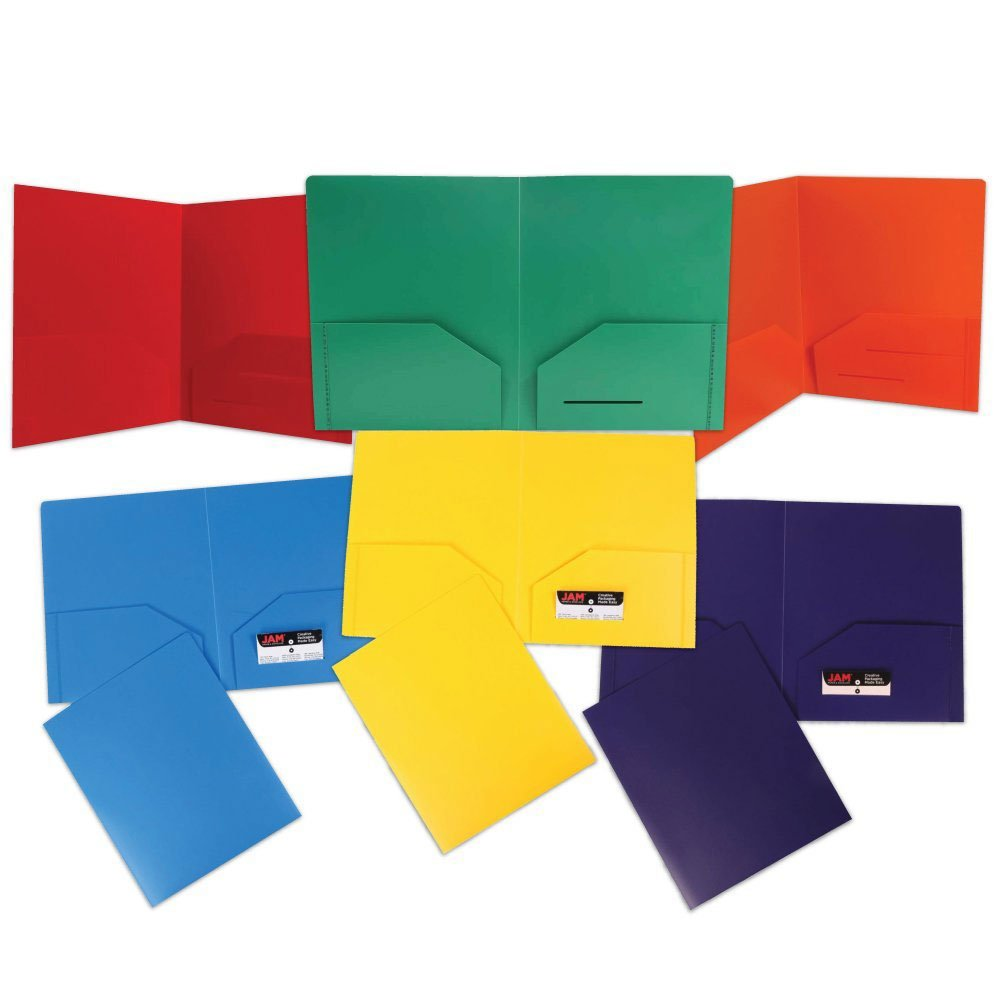 JAM Paper Plastic Heavy Duty Plastic 2 Pocket School Presentation Folders - Assorted Primary Colors - 6/pack
