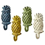 Blue Green Yellow and White Pineapples Single Wall Hooks 5.25 Inches Set of 4