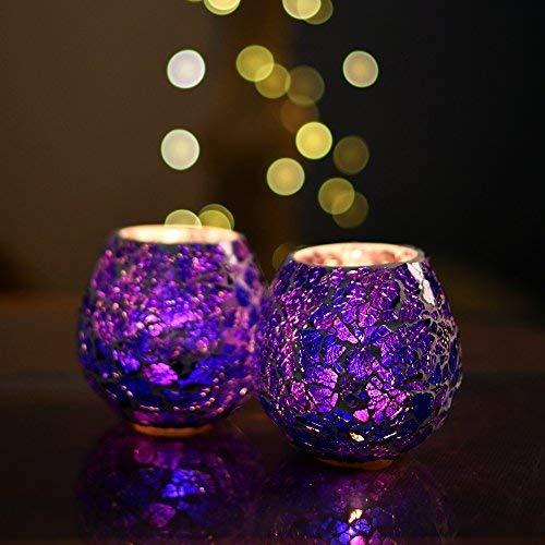 tecmac Moroccan Blue Glass Crackle Mosaic Candle Holder, Tea Light Holder Votive, Set of 2