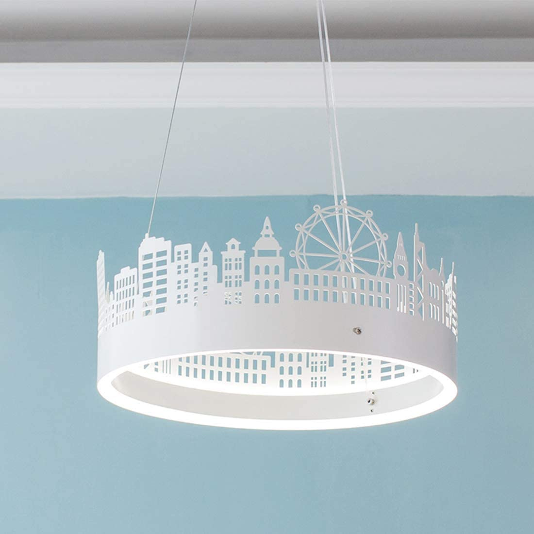 Lámpara Colgante LED, Lámpara de Araña moderna de Diseño Circular, Altura Ajustable, Creativa Escultura de Hierro Forjado Lámpara Colgante Rueda Colgante de Techo de Acrílico