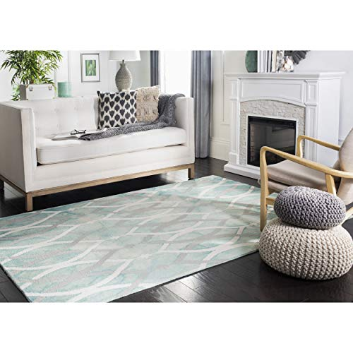 Safavieh Dip Dye Collection DDY534Q Handmade Modern Geometric Watercolor Green and Ivory Grey Wool Area Rug (4' x - Rug Green Ivory