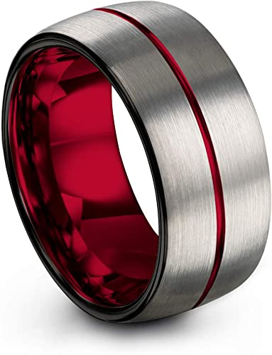 Chroma Color Collection Tungsten Carbide Wedding Band Ring 8mm for Men Women Green Red Fuchsia Copper Teal Blue Purple Black Center Line Dome Black Brushed Polished