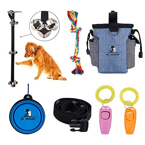 Cilkus 7 Piece Dog Training Set - Dog Training Clicker, Treat Pouch Bag, Housetraining Door Bells, Dog Toys, Dog Bowl.Puppy Supplies Starter Kit for Teaching Commands