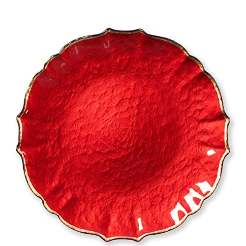 - Vietri Viva Baroque Glass Red Service Plate/Charger - Premium Quality Gold Rimmed Tableware
