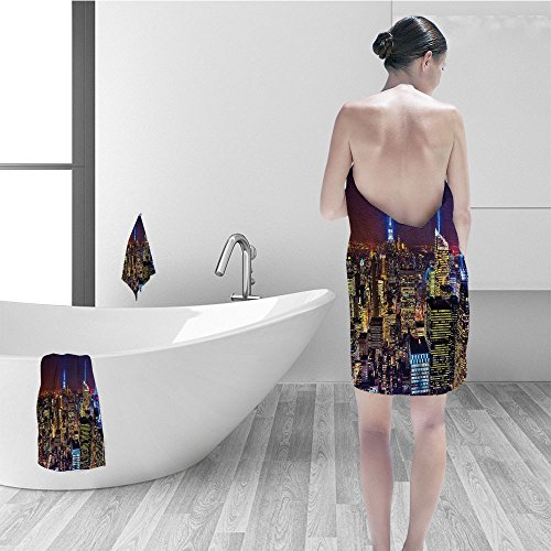 Nalahomeqq Hand towel set New York Aerial Cityscape Landmark Fourth of July Independence Penthouse Modern Art Image Fabric Bathroom Decor Purple Gold