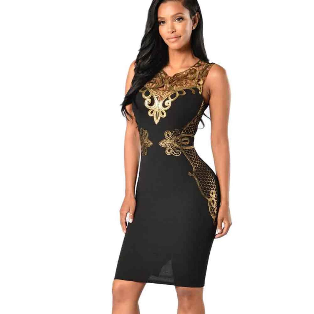MBSDDH Dress Women Lace Bodycon Slim Sleeveless Evening Party Pencil Mini Dress Black