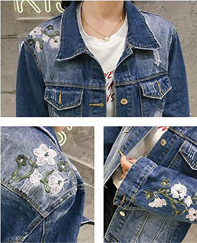 Floral Jean Huateng Bleu Denim Broderie Longues Clair Manches Femmes zRExE1qFwp