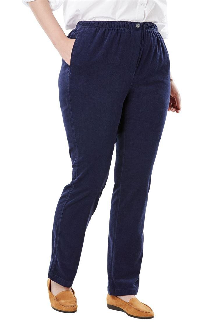 Woman Within Women's Plus Size Comfort Waist Straight Leg Corduroy Pant