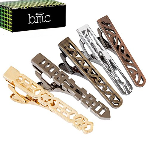 BMC 5pc Mens Mix Metal Colored Stainless Steel Cut Out Pattern Tie Bar Clips